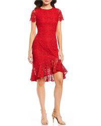 Eliza J - Lace Flounce Ruffle Sheath Dress - Lyst