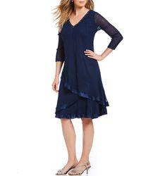 efee18fc70 Komarov V Neck Floral Dress in Blue - Lyst