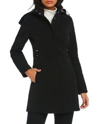 Gallery - Quilted Hooded Single Breasted Coat - Lyst