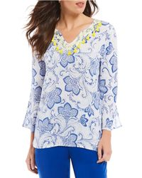 Ruby Rd. - Shibori Floral Print Embellished Notch V-neck Laundered Crepe Top - Lyst