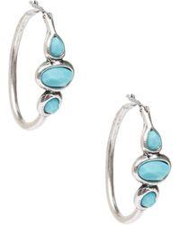 Lucky Brand - Silver & Turquoise Hoop Earrings - Lyst