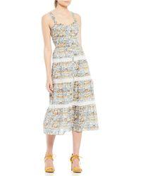 066da8c9209 Antonio Melani - Made With Liberty Fabrics Dawn Floral Print Sleeveless Midi  Dress - Lyst
