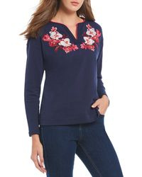 49635991de Urban Outfitters · Joules - Jordan Notch Neck Floral Embroidery Sweater -  Lyst
