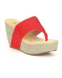 Volatile - Majestic Microsuede Rhinestone Detail Thong Wedge Sandals - Lyst