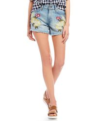 William Rast - Embroidered Floral High Rise Denim Shorts - Lyst