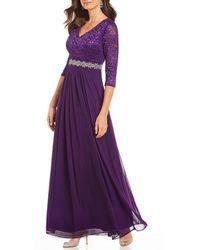Alex Evenings - Petite Size V-neck Lace Bodice A-line Gown - Lyst