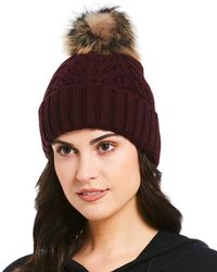 Ugg | Cable-knit & Shearling Beanie With Pom | Lyst