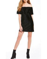 Sanctuary | Zodiac Knit Off The Shoulder Pleated Shift Dress | Lyst