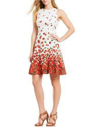 Maggy London - Cherry Print Cotton Fit And Flare Dress - Lyst