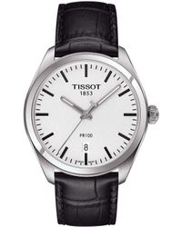 Tissot - T-classic Pr 100 Analog & Date Leather-strap Watch - Lyst