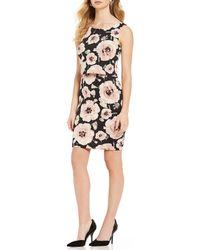 Ivanka Trump - Floral Print Scuba Crepe Popover Sheath Dress - Lyst