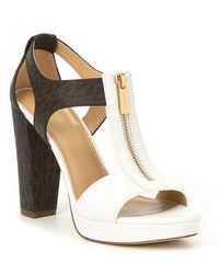 MICHAEL Michael Kors - Berkley Vachetta Leather Block Heel Sandals - Lyst