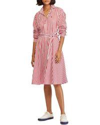 db9bce806af7 Polo Ralph Lauren - Striped Cotton Broadcloth Tie Waist Shirt Dress - Lyst