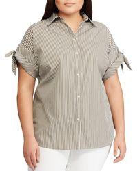 Lauren by Ralph Lauren - Plus Size Striped Cotton Tie-sleeve Button Front Shirt - Lyst