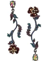 Betsey Johnson | Flower Mismatched Linear Drop Earrings | Lyst