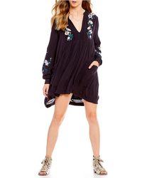 Free People - Mia Gauze Embroidered Mini Dress - Lyst