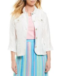 Ruby Rd. - 3/4 Sleeve Button Front Crinkle Shimmer Jacket - Lyst