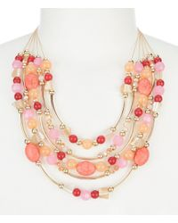 Dillard's - Tailored Coral Beaded Collar Necklace - Lyst