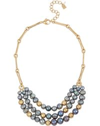 Robert Lee Morris Mixed Pearl Bead Frontal Necklace - Gray
