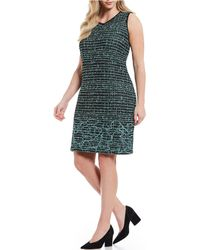 Ming Wang - Plus Size Jewel Neck Embroidered Dress - Lyst