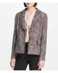 Donna Karan - New York Fringed Edge Heathered Tweed Two-button Jacket - Lyst