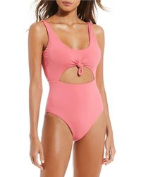 1bbb2888ad42e Gianni Bini Botanical Babe Ribbed High Leg One-piece Swimsuit in White -  Lyst