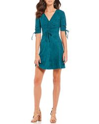Sugarlips - Fit And Flare Ruched Faux Suede Dress - Lyst