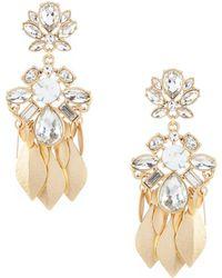Belle By Badgley Mischka - Fancy Stone Leave Drop Statement Earrings - Lyst