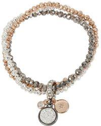 Kenneth Cole - Tri-tone Stretch Bracelet With Charms - Lyst