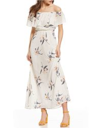 Sugarlips - Off-the-shoulder Floral Print Blouson Maxi Dress - Lyst