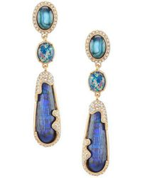 Belle By Badgley Mischka - Multi Stone Linear Statement Earrings - Lyst