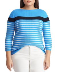 Lauren by Ralph Lauren - Plus Size Cotton-blend Stripe Boatneck Sweater - Lyst