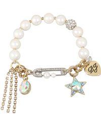 Betsey Johnson - Gold-tone Crystal Star & Stone Imitation Pearl Stretch Bracelet - Lyst