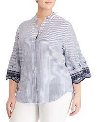 Lauren by Ralph Lauren - Plus Size Embroidered Stripe Scalloped Bell-sleeve Shirt - Lyst