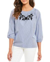 Jones New York - Off-the-shoulder Floral Embroidered Stripe Novelty Shirting Peasant Top - Lyst