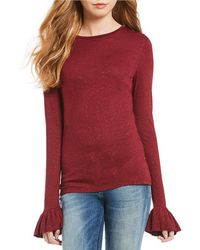 Chelsea & Violet - Bell Sleeve Lurex Knit Top - Lyst
