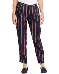 Lauren by Ralph Lauren - Twill Straight-leg Pants (navy Multi) Women's Casual Pants - Lyst