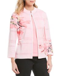 Ming Wang - Mandarin Neckline Floral Jacket - Lyst