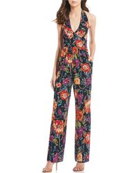 Band Of Gypsies - Billy Floral Print Halter V-neck Jumpsuit - Lyst