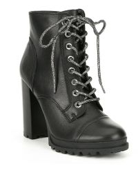ALDO - Marille Leather Hiker Block Heel Lace Up Booties - Lyst
