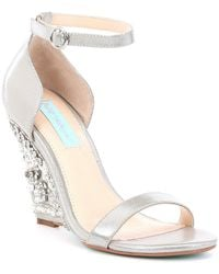 Betsey Johnson - Blue By Alisa Lace And Satin Wedge Sandals - Lyst