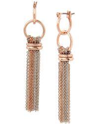 Kenneth Cole | Rose Gold Double Drop Tassel Earrings | Lyst