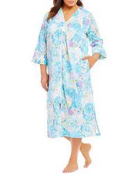 Miss Elaine - Plus Floral-print Sateen Zip-front Long Robe - Lyst