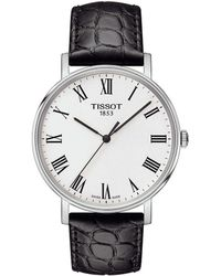 Tissot - Everytime Men's Black Leather Strap Watch - Lyst
