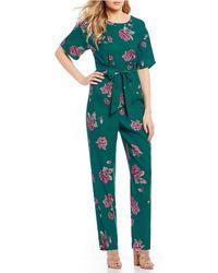 June & Hudson - Floral Short Sleeve Jumpsuit - Lyst