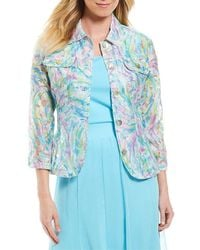 Ruby Rd | 3/4 Sleeve Button Front Paint Splash Print Crinkle Burnout Jacket | Lyst