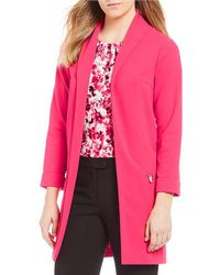 Calvin Klein | Shawl Collar Open-front Long Sleeve Roll Cuff Jacket | Lyst