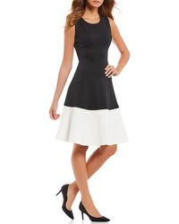 Calvin Klein - Colorblock Sleeveless Fit-and-flare Dress - Lyst