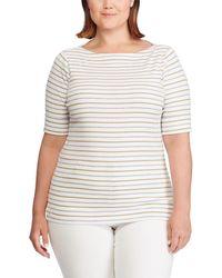 Lauren by Ralph Lauren - Plus Size Stretch Cotton Boat Neck Stripe Top - Lyst