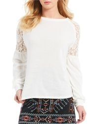 Blu Pepper - Lace Shoulder Balloon Sleeve Top - Lyst